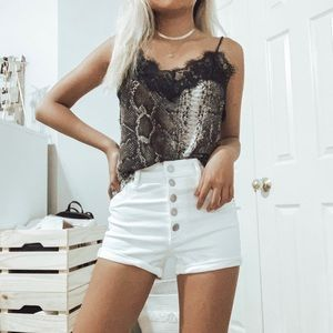 snakeskin print lace cami top